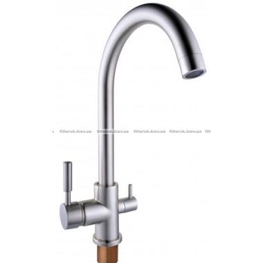 Смеситель кухонный Globus Lux LAZER GLLR-0333 StSTEEL НЕРЖАВЕЙКА комбинированный